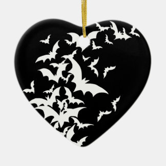 White Bats on Black Christmas Ornament
