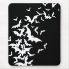 White Bats on Black Mouse Mat