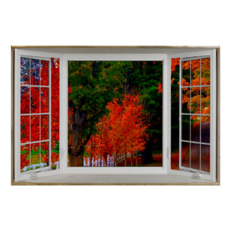 White Bay Window Illusion Autumn Scene Poster