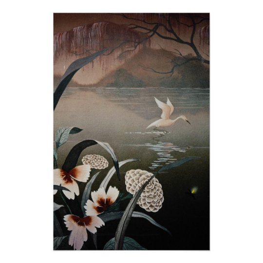 white Bayou in the evening flowers Poster