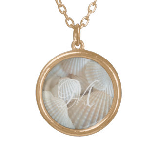 White Beach Shells Summer Tropical Exotic Gold Plated Necklace