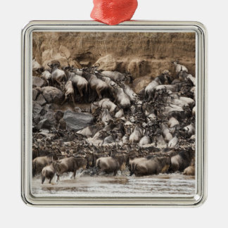 White-bearded Wildebeest or Gnu, Connochaetes Silver-Colored Square Decoration