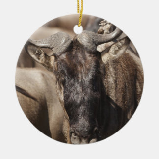 White-bearded Wildebeest with Wattled Starling Round Ceramic Decoration