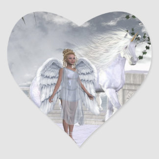 White Beauty Unicorn Angel Heart Sticker