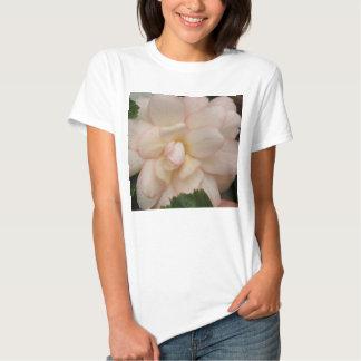 White Begonia Flower Ladies T Shirt