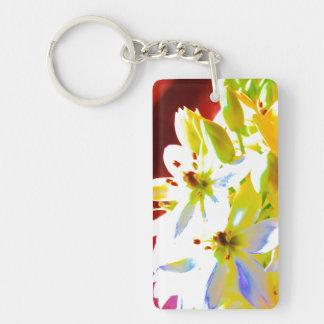 White bell flowers Keyring Double-Sided Rectangular Acrylic Key Ring