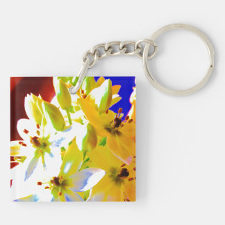 White bell flowers Keyring Double-Sided Square Acrylic Key Ring