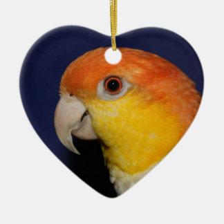 White Bellied Caique Parrot Ceramic Heart Decoration