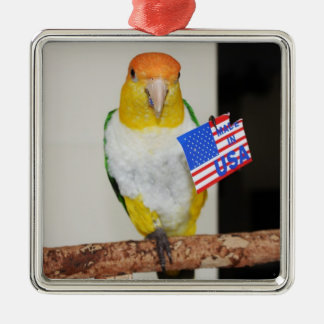 White Bellied Caique Parrot Patriotic 4th of July Christmas Ornament
