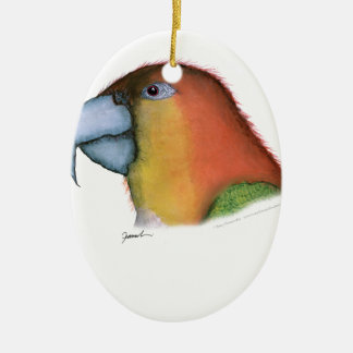 white bellied caique, tony fernandes ceramic oval decoration