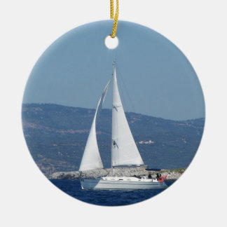 White Beneteau Sloop Christmas Ornament