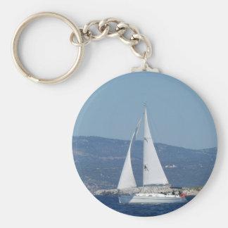 White Beneteau Sloop Key Ring
