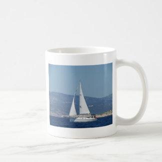 White Beneteau Sloop Coffee Mugs
