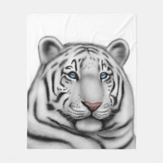 White Bengal Tiger Blue Eyes Fleece Blanket