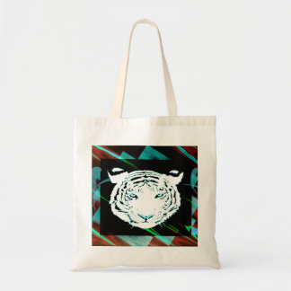 White Bengal Tiger On A Southwest Style Background Canvas Bags