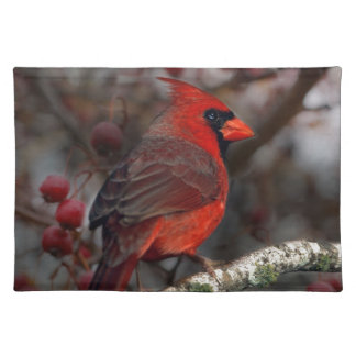 White Berries Primitive Christmas Red Cardinal Placemat