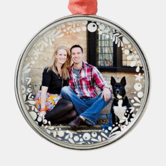 White Berry Framed Custom Photo Christmas Ornament