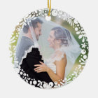 White Berry Framed Wedding Photo with Custom Text Christmas Ornament