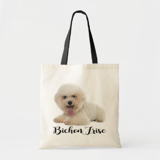 White Bichon Frise Puppy Dog Black Love Tote Bag
