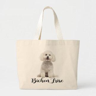 White Bichon Frise Puppy Dog Love Large Tote Bag
