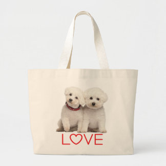 White Bichon Frise Puppy Dog Red Love Large Tote Bag
