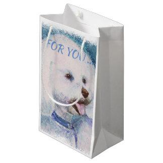 WHITE BICHON FRISE SMALL GIFT BAG