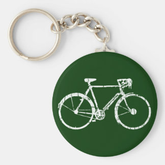 white bicycle basic round button key ring