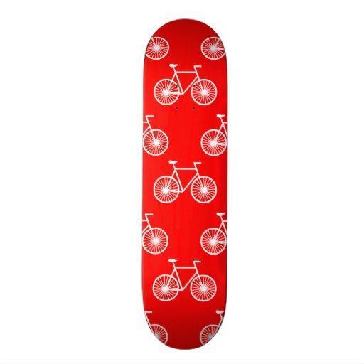 White Bicycle, Cycling Pattern; Bright Red Skate Board Deck