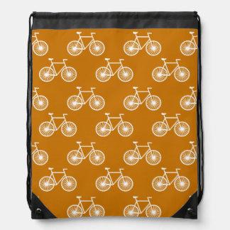 White Bicycle, Cycling Pattern; Burnt Orange Drawstring Bag