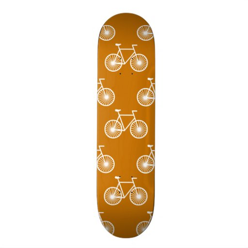 White Bicycle, Cycling Pattern; Burnt Orange Skate Board
