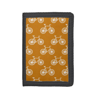 White Bicycle, Cycling Pattern; Burnt Orange Trifold Wallets