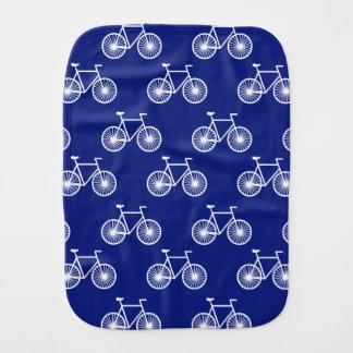 White Bicycle, Cycling Pattern; Dark Blue Burp Cloth