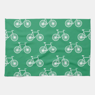 White Bicycle, Cycling Pattern; Kelly Green Tea Towel