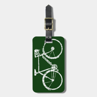 white bicycle luggage tag