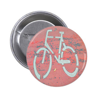 White Bicycle Red Street, Traffic Sign Bicycles 6 Cm Round Badge