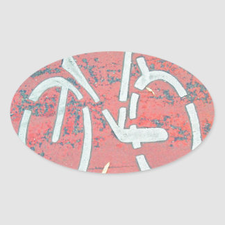 White Bicycle Red Street, Traffic Sign Bicycles Oval Sticker