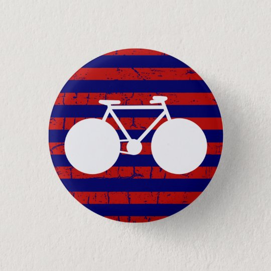 white bicycle striped 3 cm round badge