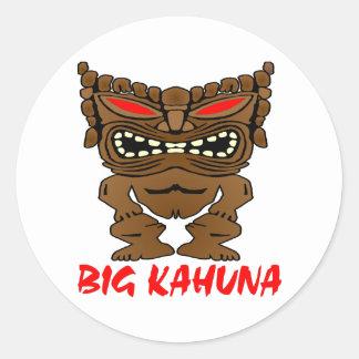 White Big Kahuna Tiki God Round Sticker