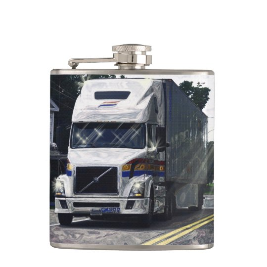 White Big Rig Truckers Lorry & Highway Truckers Flasks