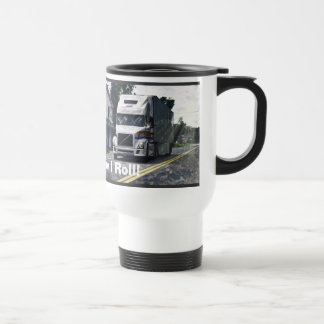 WHITE BIG RIG TRUCKER'S TRAVEL MUG