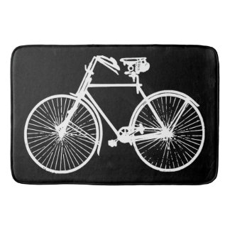 white bike bicycle black bath mat