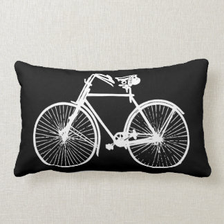 white bike bicycle black Throw pillow