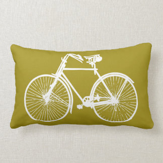 white bike bicycle Throw pillow mustard yellow