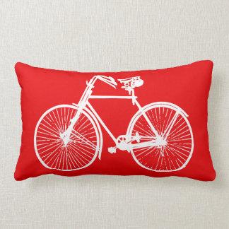 white bike bicycle Throw pillow orange red