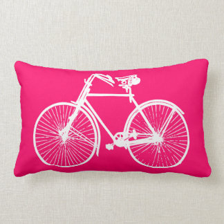 white bike bicycle Throw pillow pink