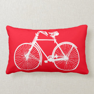 white bike bicycle Throw pillow red