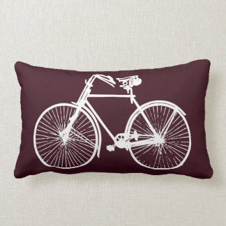 white bike bicycle Throw pillow red Burgundy