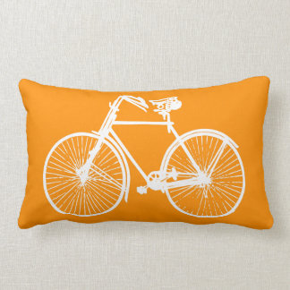 white bike bicycle Throw pillow yellow orange