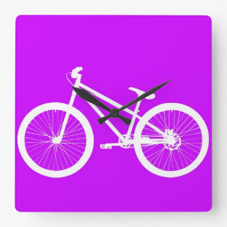 White Bike on Purple Square Wall Clock