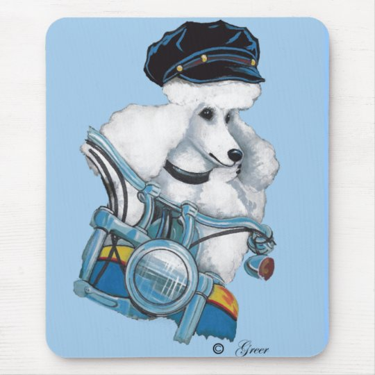 White Biker Chick Poodle - Customised Mouse Pad